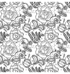 Halloween floral seamless pattern in doodle style vector