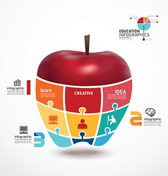 infographic Template with apple jigsaw banner vector image