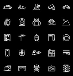 Land transport related line icons on black vector