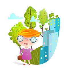Little girl in big city going to school vector