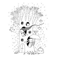 Magic tree rabbits and birdsanimals of the vector