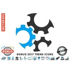 Mechanics gears flat icon with 2017 bonus trend vector