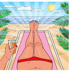 Pop art woman relaxing on the beach vector