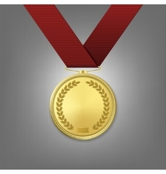 Realistic golden award medal with red vector
