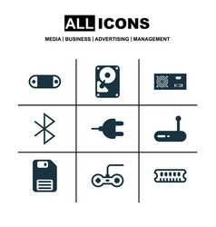Set of 9 computer hardware icons includes router vector