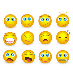 Set of Emoji face emotion icons isolated vector image