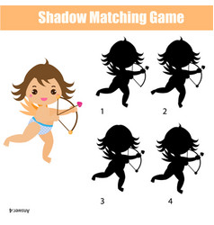 Shadow matching game kids activity with cute vector