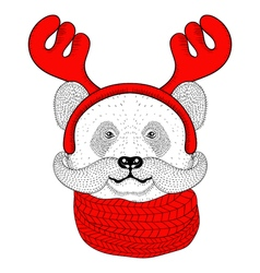 Sketch panda face with mustache in a reindeer vector image vector image