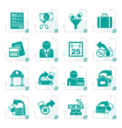 stylized taxes business and finance icons vector image vector image