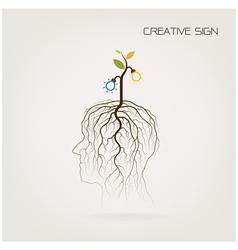 Tree of knowledge shoot grow on human head symbol vector