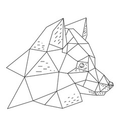 Triangular fox hand drawn vector