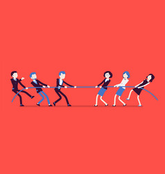 Tug of war men vs women vector