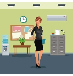 Woman workplace table potted plant cabinet file vector