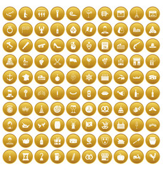 100 alcohol icons set gold vector