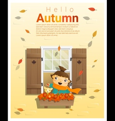 Hello autumn background with little girl 2 vector