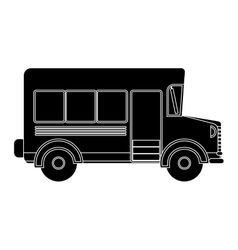 Black silhouette school bus with wheels vector