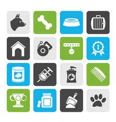 Silhouette dog and cynology object icons vector