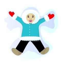 Child do snow angel vector image