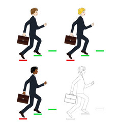 Business man holding briefcase running to goal vector