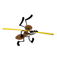 Small ant carries a straw children vector