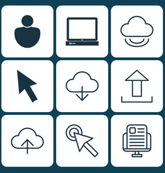 Set of 9 world wide web icons includes pc human vector