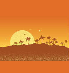 Tropical island with palms and sun sunset poster vector