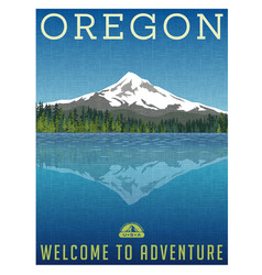 Oregon mountains travel poster vector