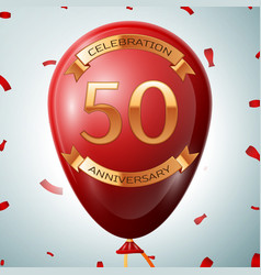 Red balloon with golden inscription fifty years vector