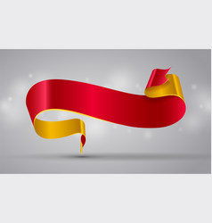 Red and gold curved ribbon or banner vector