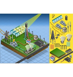 Isometric termo solar plant diagram vector