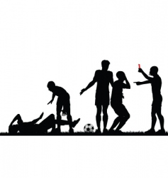 soccer game silhouette vector image