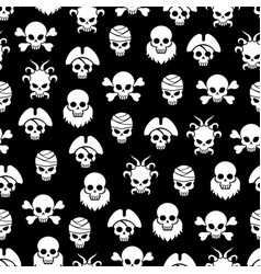 Pirate seamless pattern with white skulls vector