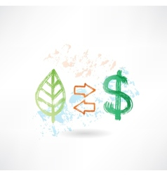 leaf and dollar grunge icon vector image