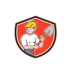 Builder construction worker spade shield cartoon vector