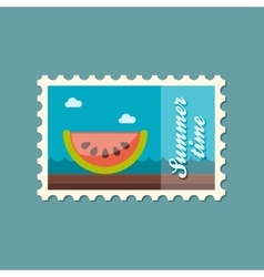 Watermelon slice flat stamp summertime vector