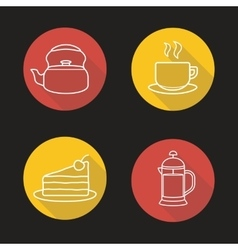 Tea and coffee flat linear long shadow icons set vector