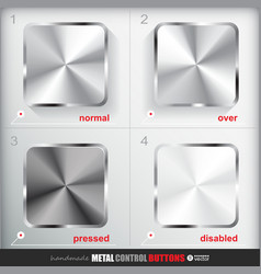 Set of four positions of empty metal button vector