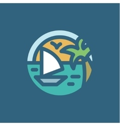 Ocean yacht palm in minimalism style flat vector