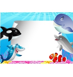 Sea life cartoon with blank sign vector image