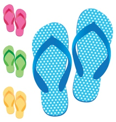 Slippers set of female with multicolored slippers vector