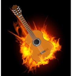 Acoustic guitar in fire flame vector image