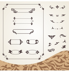 Arabic frames and design elements set vector image vector image