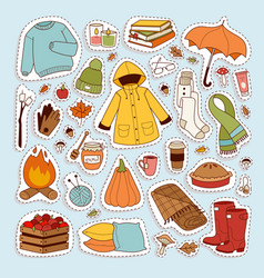 Autumn icons stickers hand drawn vector