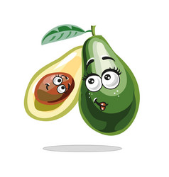 avocado with cute face mother and child fruit vector image vector image
