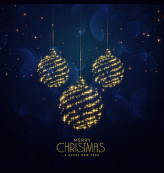 Blue christmas holiday background with hanging vector