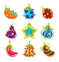 Bright fantasy fruits vector