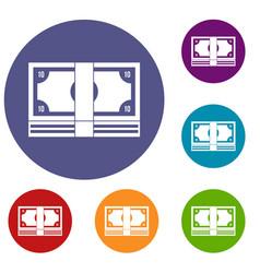 bundle of money icons set vector image vector image