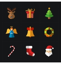 Christmas color icons collection vector image