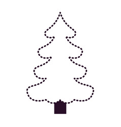 christmas pine tree on dotted monochrome vector image vector image