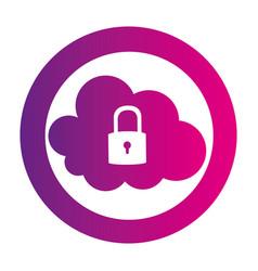 Color circular emblem with secure padlock cloud vector